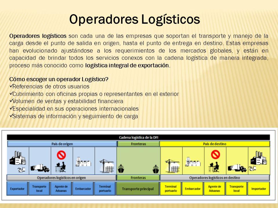 Operadores Logísticos Operadores logísticos son cada una de las empresas que soportan el transporte y manejo de la carga desde el punto de salida en origen, hasta el punto de entrega en destino.
