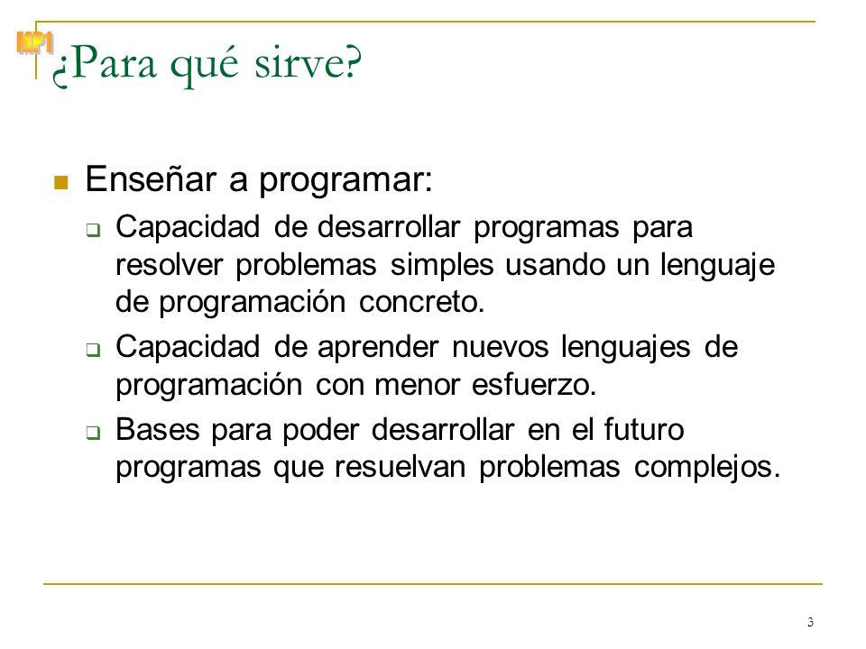 © Zenón J. Hernández Figueroa 3 ¿Para qué sirve? Enseñar a programar: Capacidad de desarrollar programas para resolver problemas simples usando un len