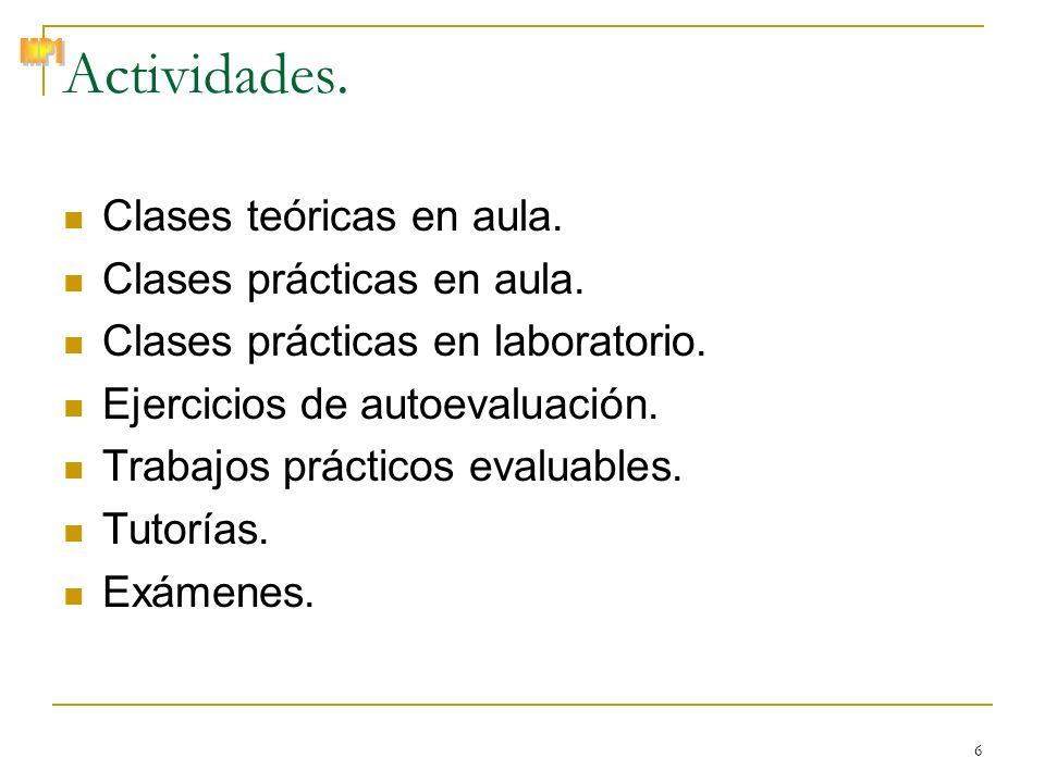 © Zenón J. Hernández Figueroa 6 Actividades. Clases teóricas en aula. Clases prácticas en aula. Clases prácticas en laboratorio. Ejercicios de autoeva