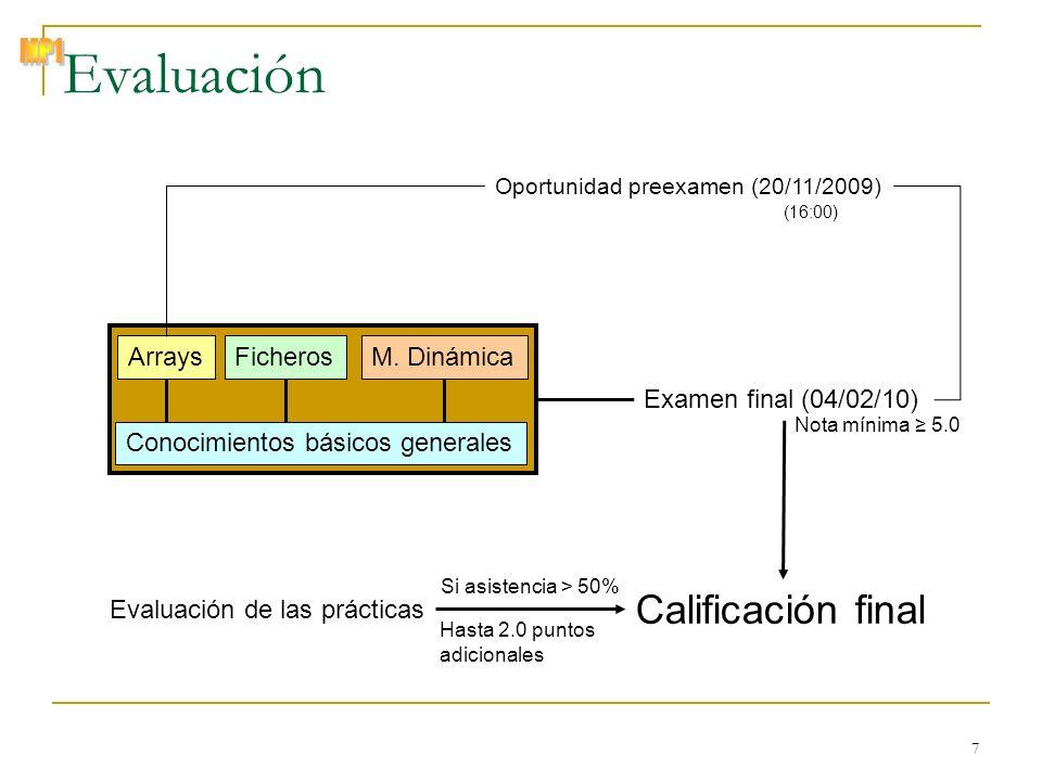 © Zenón J. Hernández Figueroa 7 Examen final (04/02/10) Evaluación Conocimientos básicos generales ArraysFicherosM. Dinámica Nota mínima 5.0 Oportunid