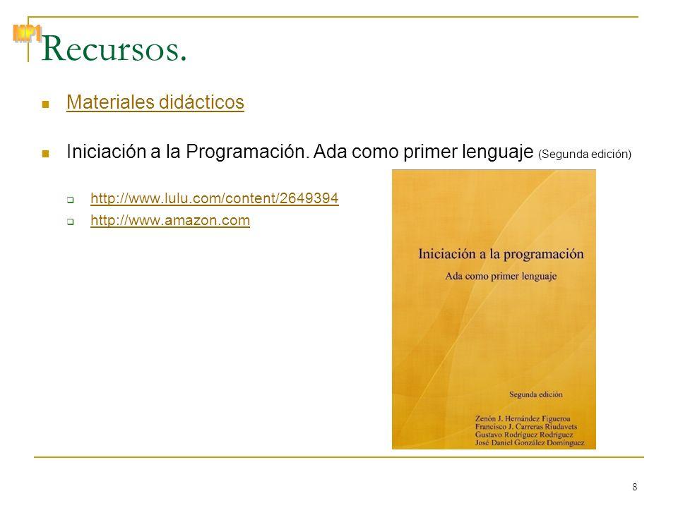 © Zenón J. Hernández Figueroa 8 Recursos. Materiales didácticos Iniciación a la Programación. Ada como primer lenguaje (Segunda edición) http://www.lu