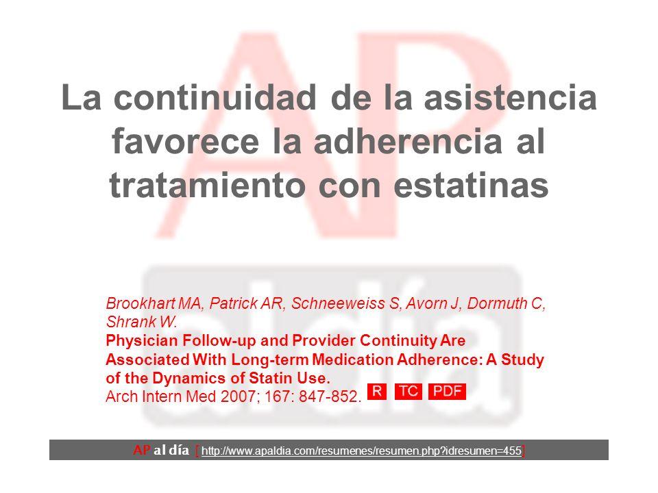 La continuidad de la asistencia favorece la adherencia al tratamiento con estatinas Brookhart MA, Patrick AR, Schneeweiss S, Avorn J, Dormuth C, Shrank W.