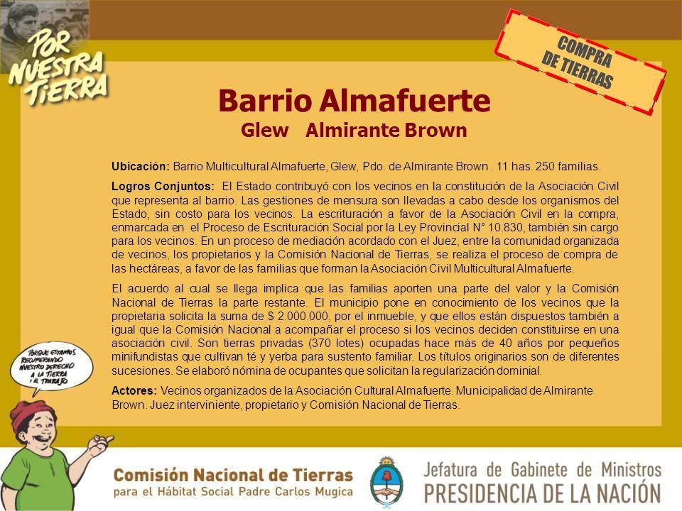 Barrio Almafuerte Glew Almirante Brown Ubicación: Barrio Multicultural Almafuerte, Glew, Pdo.