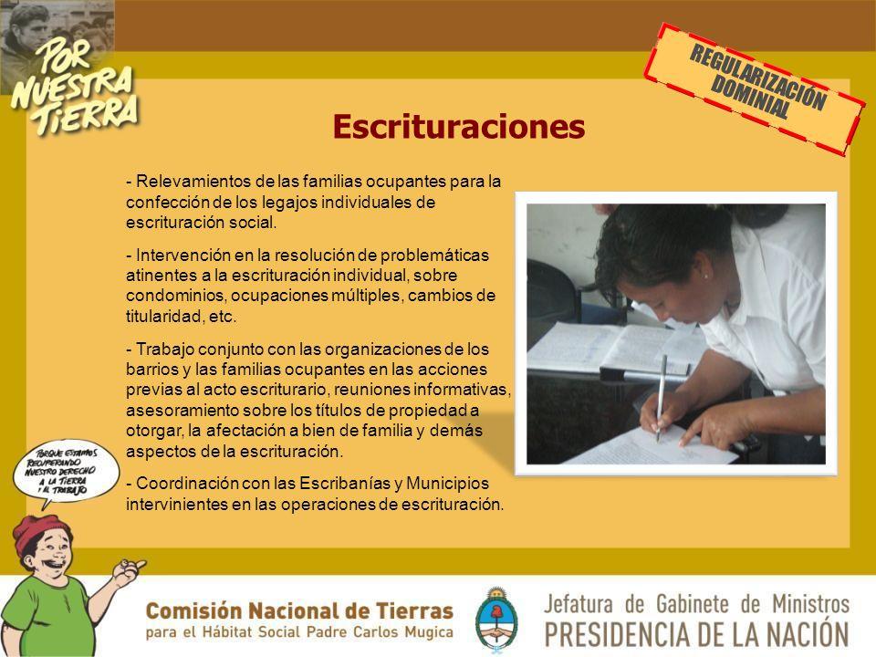 Escrituraciones - Relevamientos de las familias ocupantes para la confección de los legajos individuales de escrituración social.