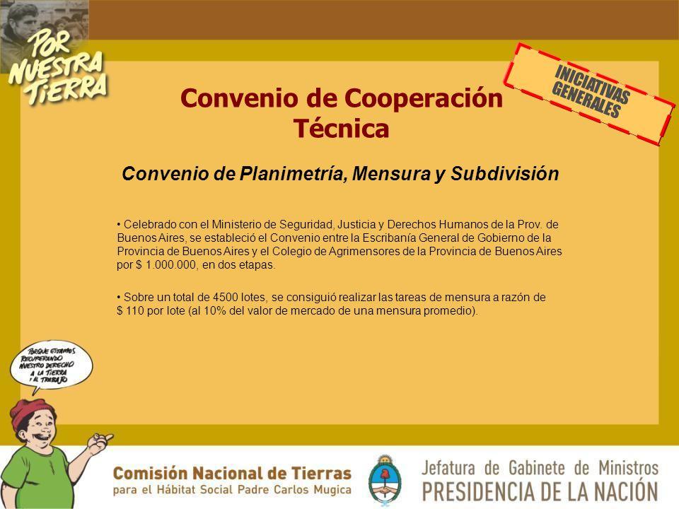 Convenio de Cooperación Técnica Celebrado con el Ministerio de Seguridad, Justicia y Derechos Humanos de la Prov.