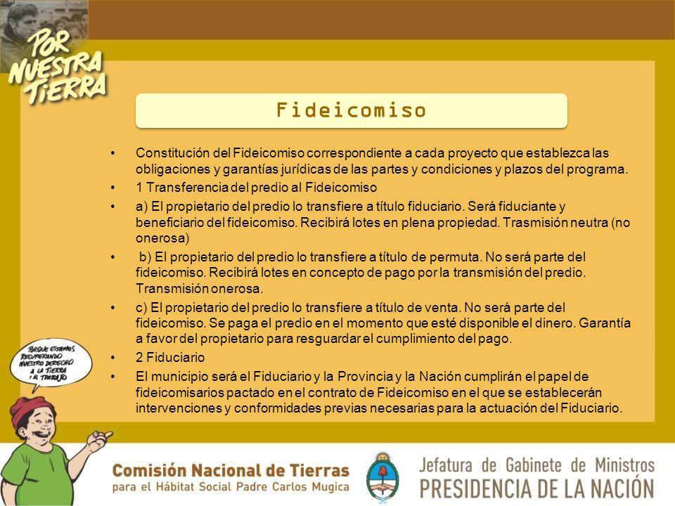 Constitución del Fideicomiso correspondiente a cada proyecto que establezca las obligaciones y garantías jurídicas de las partes y condiciones y plazos del programa.