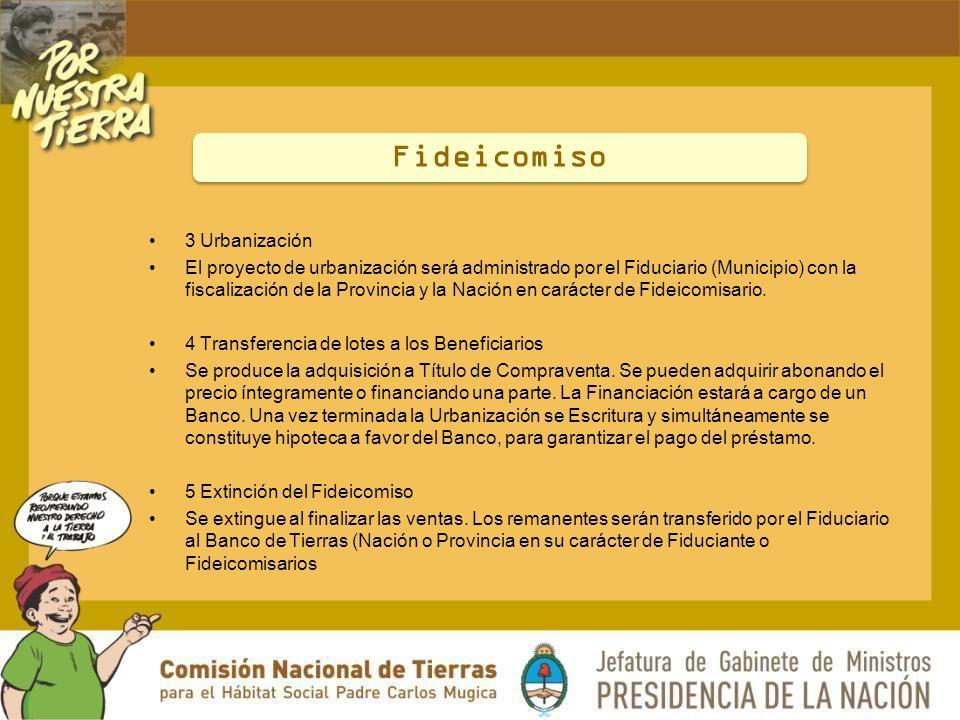 3 Urbanización El proyecto de urbanización será administrado por el Fiduciario (Municipio) con la fiscalización de la Provincia y la Nación en carácter de Fideicomisario.