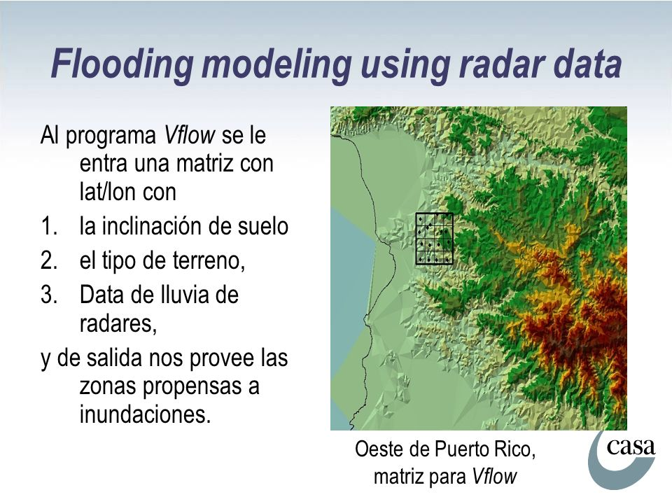 Flooding modeling using radar data Al programa Vflow se le entra una matriz con lat/lon con 1.la inclinación de suelo 2.el tipo de terreno, 3.Data de