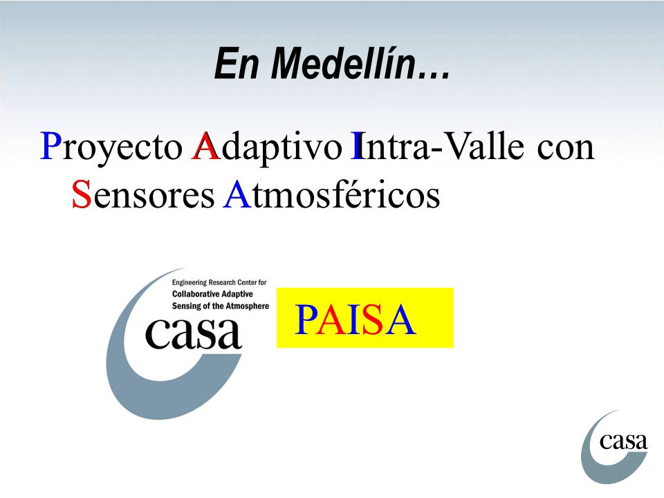 En Medellín… Proyecto Adaptivo Intra-Valle con Sensores Atmosféricos PAISA P A I S A PAISA