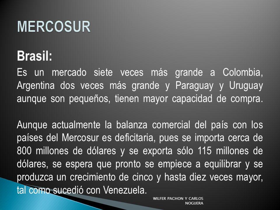 Brasil: Es un mercado siete veces más grande a Colombia, Argentina dos veces más grande y Paraguay y Uruguay aunque son pequeños, tienen mayor capacid