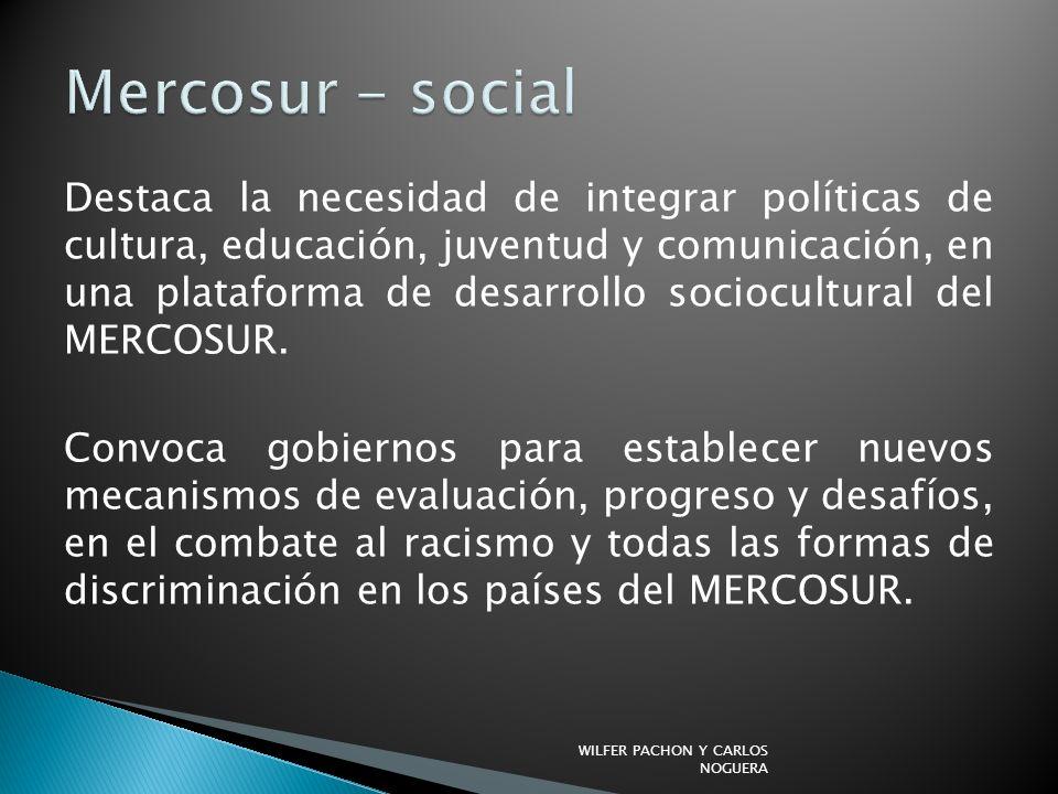 Destaca la necesidad de integrar políticas de cultura, educación, juventud y comunicación, en una plataforma de desarrollo sociocultural del MERCOSUR.