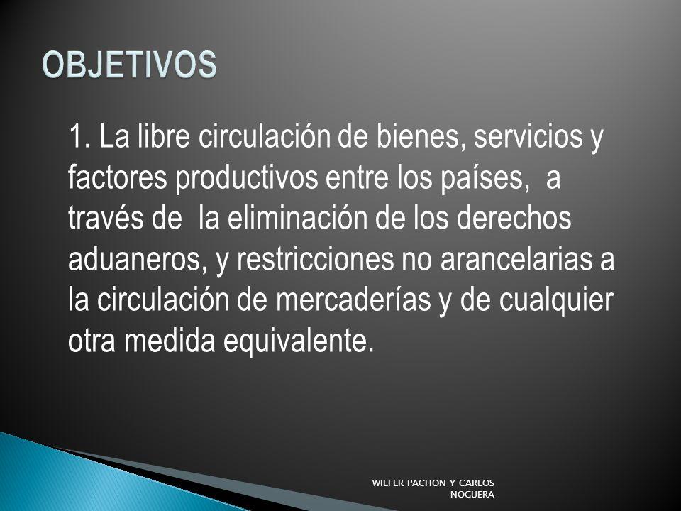 1. La libre circulación de bienes, servicios y factores productivos entre los países, a través de la eliminación de los derechos aduaneros, y restricc