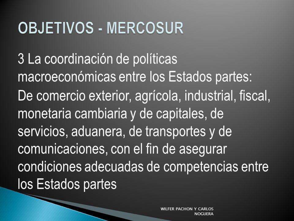 3 La coordinación de políticas macroeconómicas entre los Estados partes: De comercio exterior, agrícola, industrial, fiscal, monetaria cambiaria y de