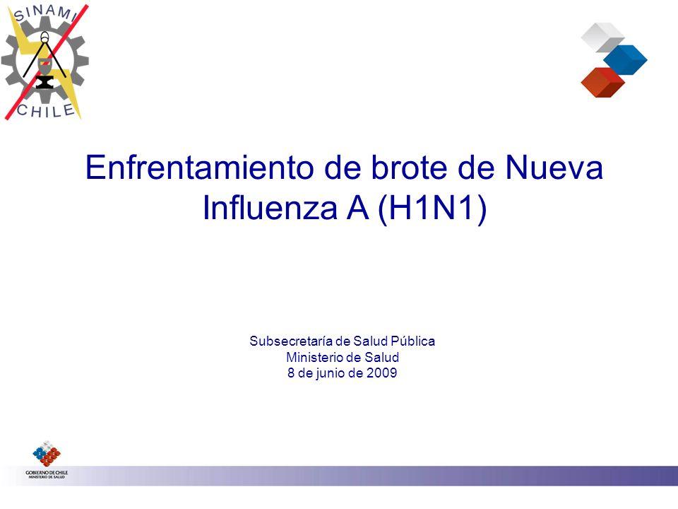 Enfrentamiento de brote de Nueva Influenza A (H1N1) Subsecretaría de Salud Pública Ministerio de Salud 8 de junio de 2009