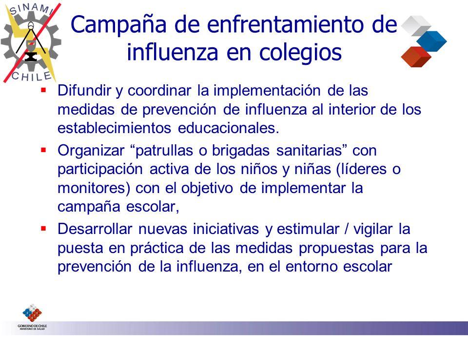Campaña de enfrentamiento de influenza en colegios Difundir y coordinar la implementación de las medidas de prevención de influenza al interior de los