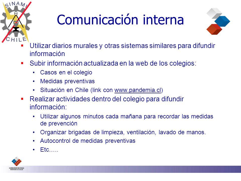 Comunicación interna Utilizar diarios murales y otras sistemas similares para difundir información Subir información actualizada en la web de los cole