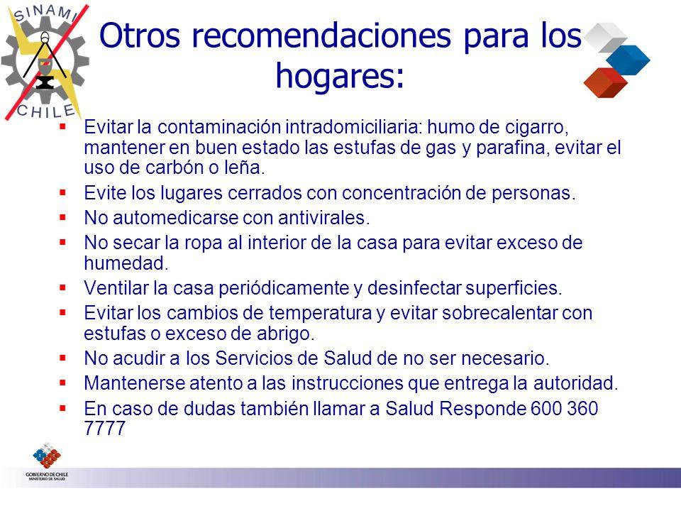 Otros recomendaciones para los hogares: Evitar la contaminación intradomiciliaria: humo de cigarro, mantener en buen estado las estufas de gas y paraf