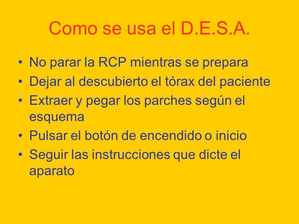 Como se usa el D.E.S.A. No parar la RCP mientras se prepara Dejar al descubierto el tórax del paciente Extraer y pegar los parches según el esquema Pu