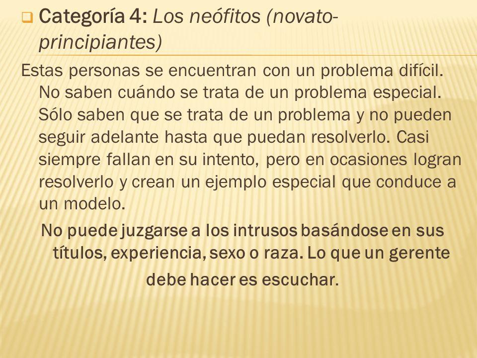 Categoría 4: Los neófitos (novato- principiantes) Estas personas se encuentran con un problema difícil. No saben cuándo se trata de un problema especi