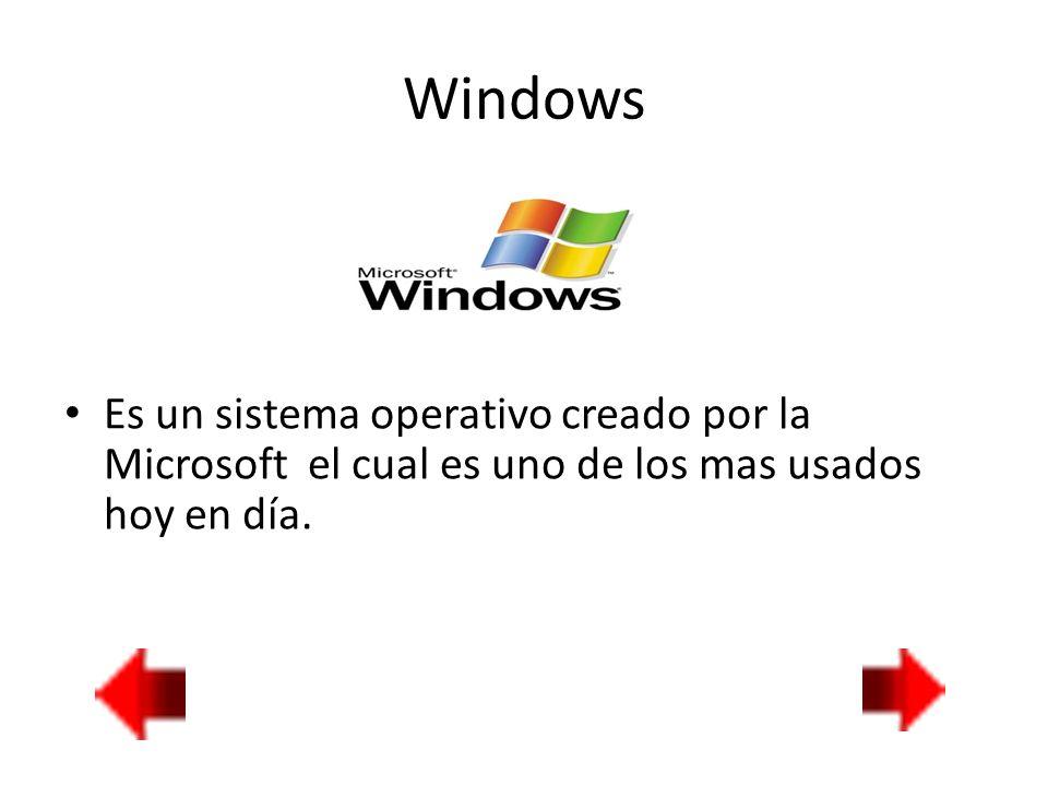 Windows Es un sistema operativo creado por la Microsoft el cual es uno de los mas usados hoy en día.