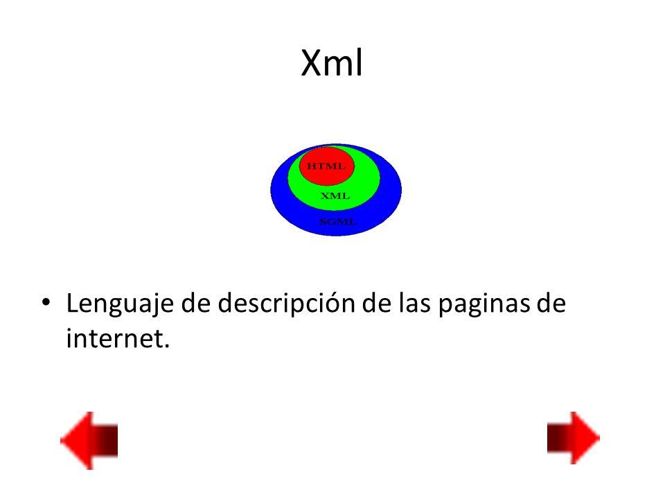 Xml Lenguaje de descripción de las paginas de internet.