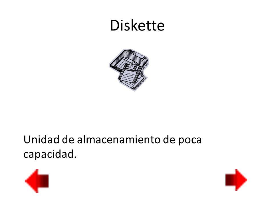 Diskette Unidad de almacenamiento de poca capacidad.
