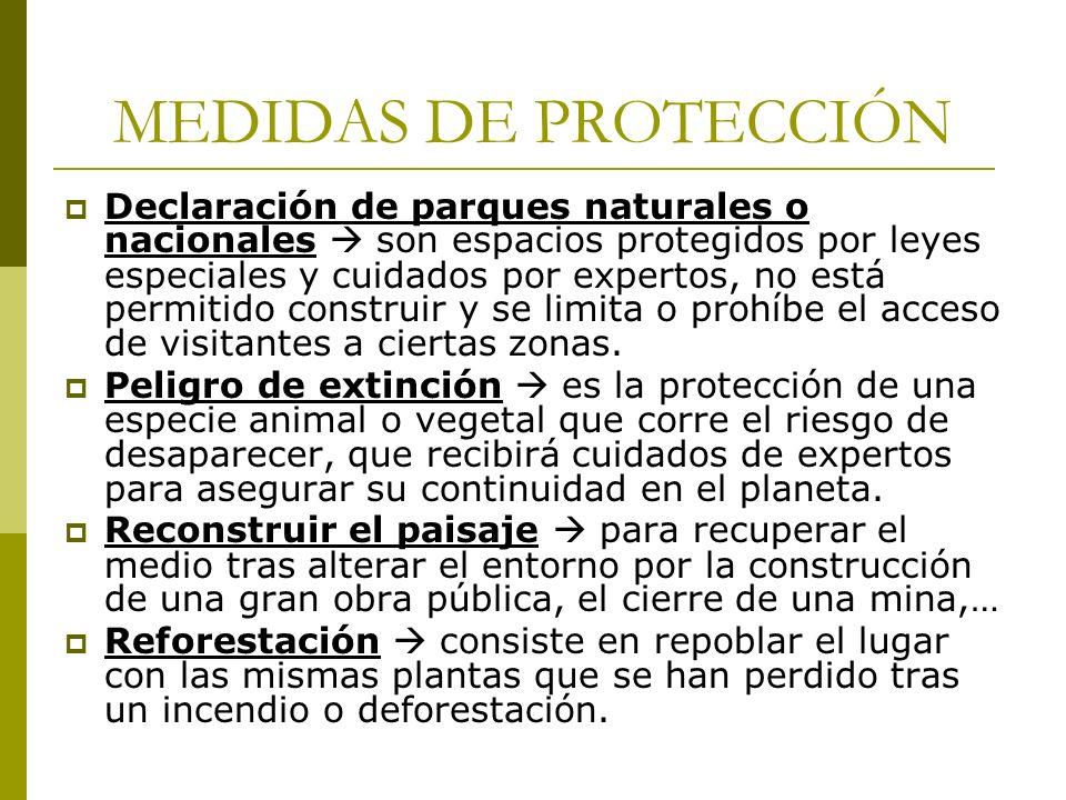 MEDIDAS DE PROTECCIÓN Declaración de parques naturales o nacionales son espacios protegidos por leyes especiales y cuidados por expertos, no está perm