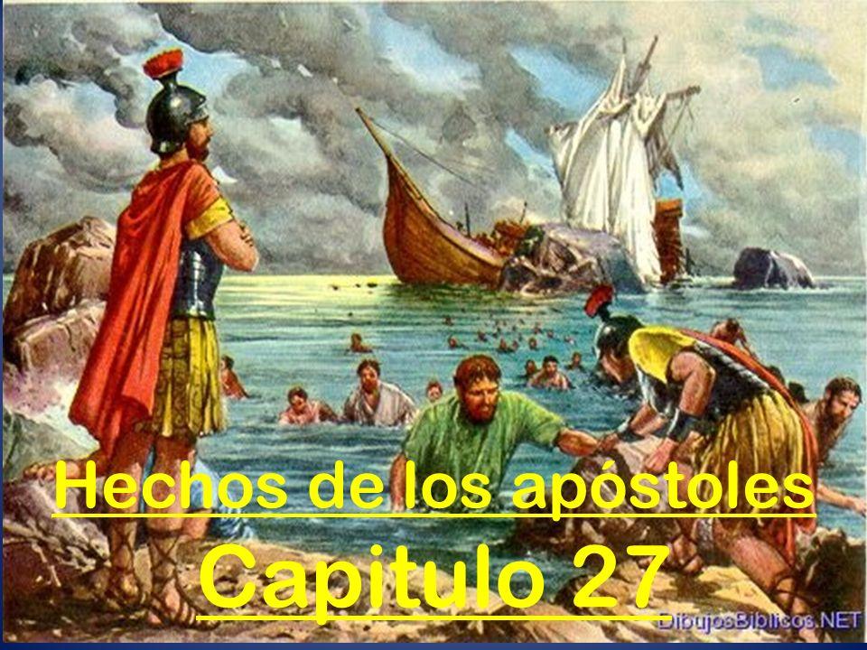 Vientos contrarios (27:1-8) Para hacer el viaje desde Cesárea hasta Italia, Pablo y otros prisioneros fueron puestos en manos de un centurión llamado Julio, que pertenecía a la cohorte de Augusto.