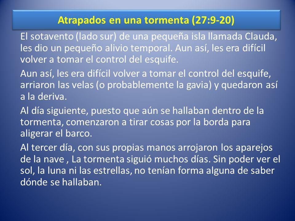 La visión de Pablo les da ánimos (27:21-37) Durante largo tiempo, las doscientas setenta y seis personas que iban en el barco no habían comido.