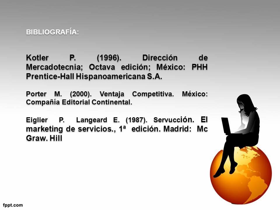 BIBLIOGRAFÍA: Kotler P. (1996). Dirección de Mercadotecnia; Octava edición; México: PHH Prentice-Hall Hispanoamericana S.A. Porter M. (2000). Ventaja