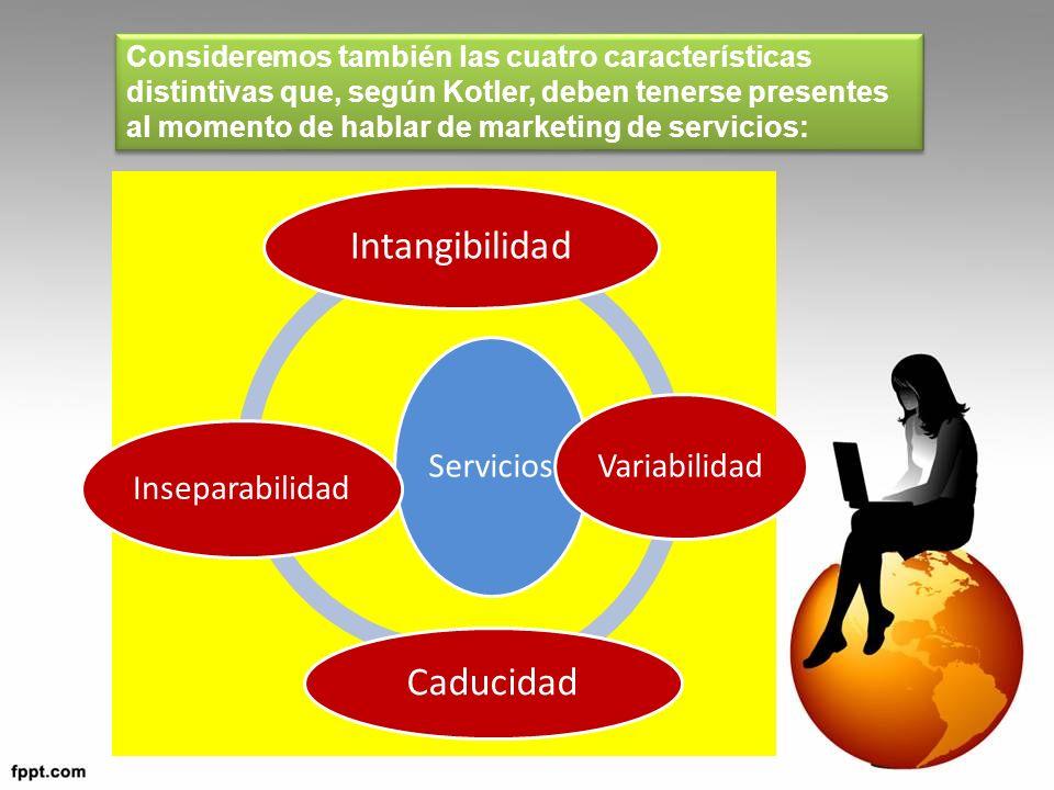 Consideremos también las cuatro características distintivas que, según Kotler, deben tenerse presentes al momento de hablar de marketing de servicios: Servicios Intangibilidad Variabilidad Caducidad Inseparabilidad