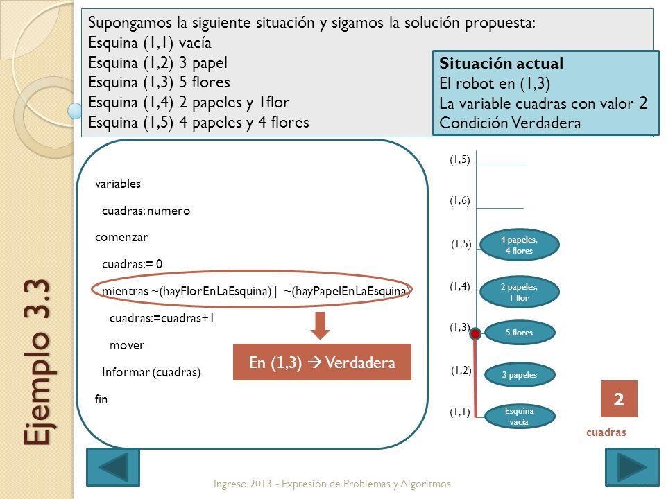 13 variables cuadras: numero comenzar cuadras:= 0 mientras ~(hayFlorEnLaEsquina) | ~(hayPapelEnLaEsquina) cuadras:=cuadras+1 mover Informar (cuadras) fin Ingreso 2013 - Expresión de Problemas y Algoritmos Ejemplo 3.3 (1,1) (1,4) (1,5) (1,6) (1,5) (1,3) (1,2) Supongamos la siguiente situación y sigamos la solución propuesta: Esquina (1,1) vacía Esquina (1,2) 3 papel Esquina (1,3) 5 flores Esquina (1,4) 2 papeles y 1flor Esquina (1,5) 4 papeles y 4 flores Esquina vacía 3 papeles 5 flores 2 papeles, 1 flor 4 papeles, 4 flores Situación actual El robot en (1,3) La variable cuadras con valor 2 Condición Verdadera En ( 1,3) Verdadera 2 cuadras