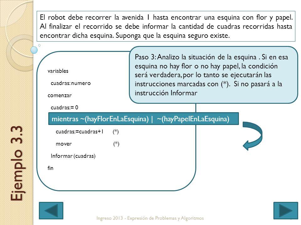 6Ingreso 2013 - Expresión de Problemas y Algoritmos Ejemplo 3.3 El robot debe recorrer la avenida 1 hasta encontrar una esquina con flor y papel.