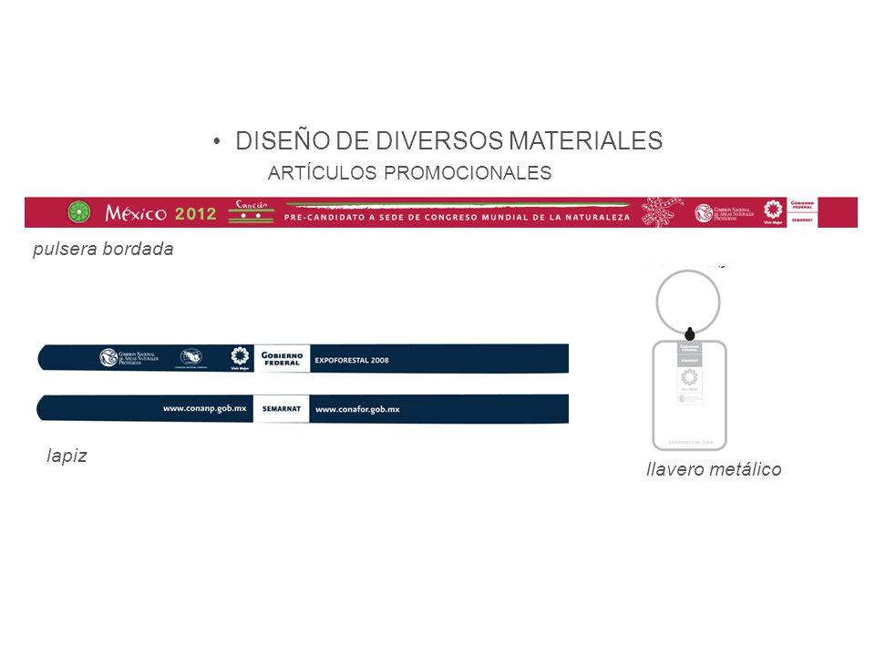 Difusión DISEÑO DE DIVERSOS MATERIALES lapiz pulsera bordada llavero metálico ARTÍCULOS PROMOCIONALES