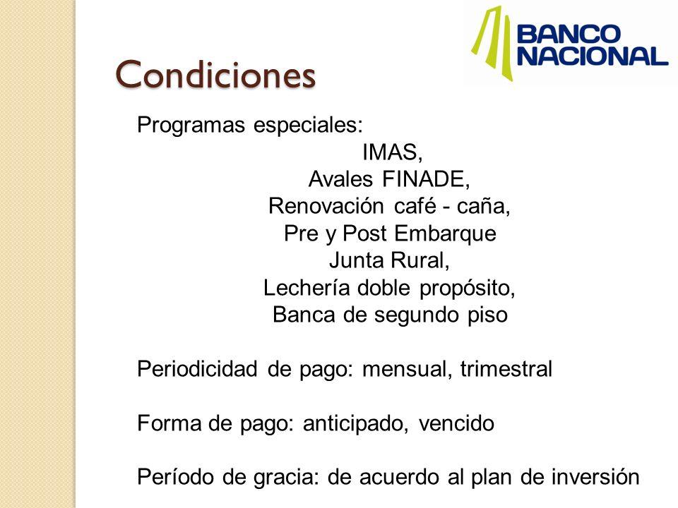 Condiciones Programas especiales: IMAS, Avales FINADE, Renovación café - caña, Pre y Post Embarque Junta Rural, Lechería doble propósito, Banca de seg