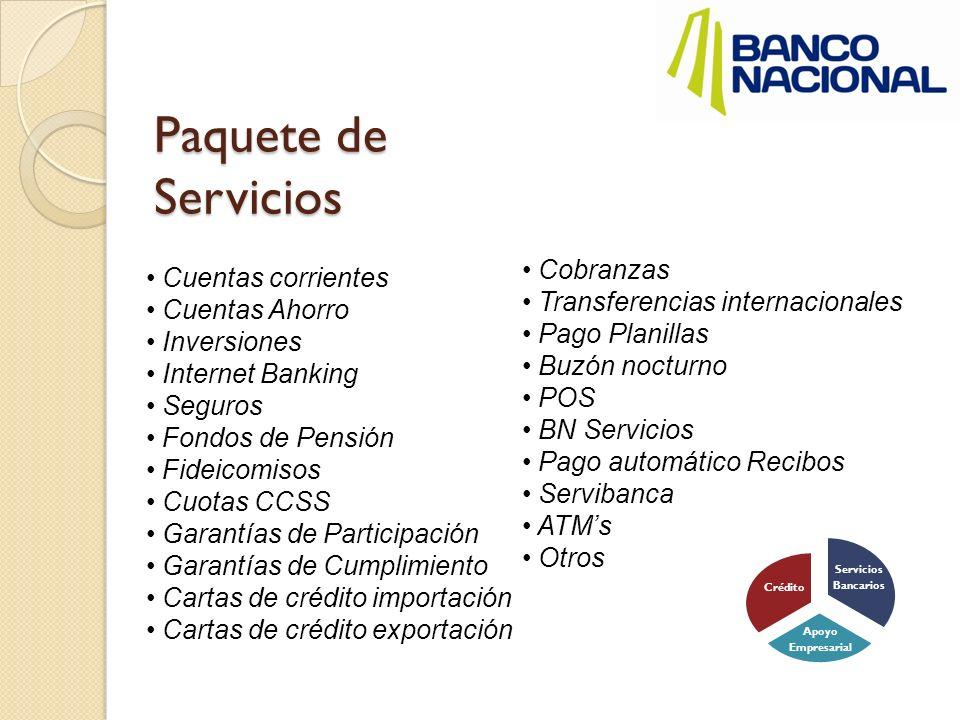 Paquete de Servicios Cuentas corrientes Cuentas Ahorro Inversiones Internet Banking Seguros Fondos de Pensión Fideicomisos Cuotas CCSS Garantías de Pa