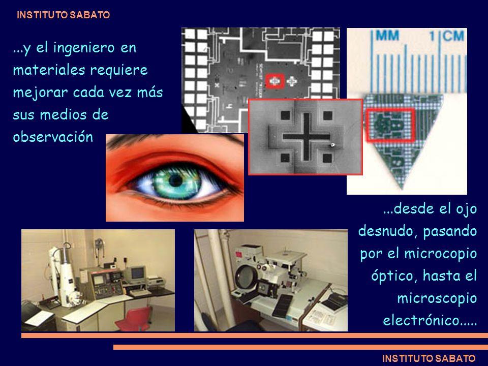 INSTITUTO SABATO...y el ingeniero en materiales requiere mejorar cada vez más sus medios de observación...desde el ojo desnudo, pasando por el microco