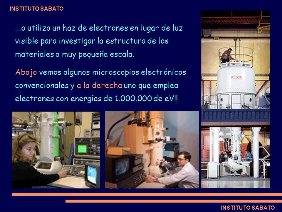 INSTITUTO SABATO...o utiliza un haz de electrones en lugar de luz visible para investigar la estructura de los materiales a muy pequeña escala. Abajo