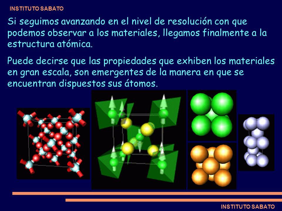 INSTITUTO SABATO Si seguimos avanzando en el nivel de resolución con que podemos observar a los materiales, llegamos finalmente a la estructura atómic