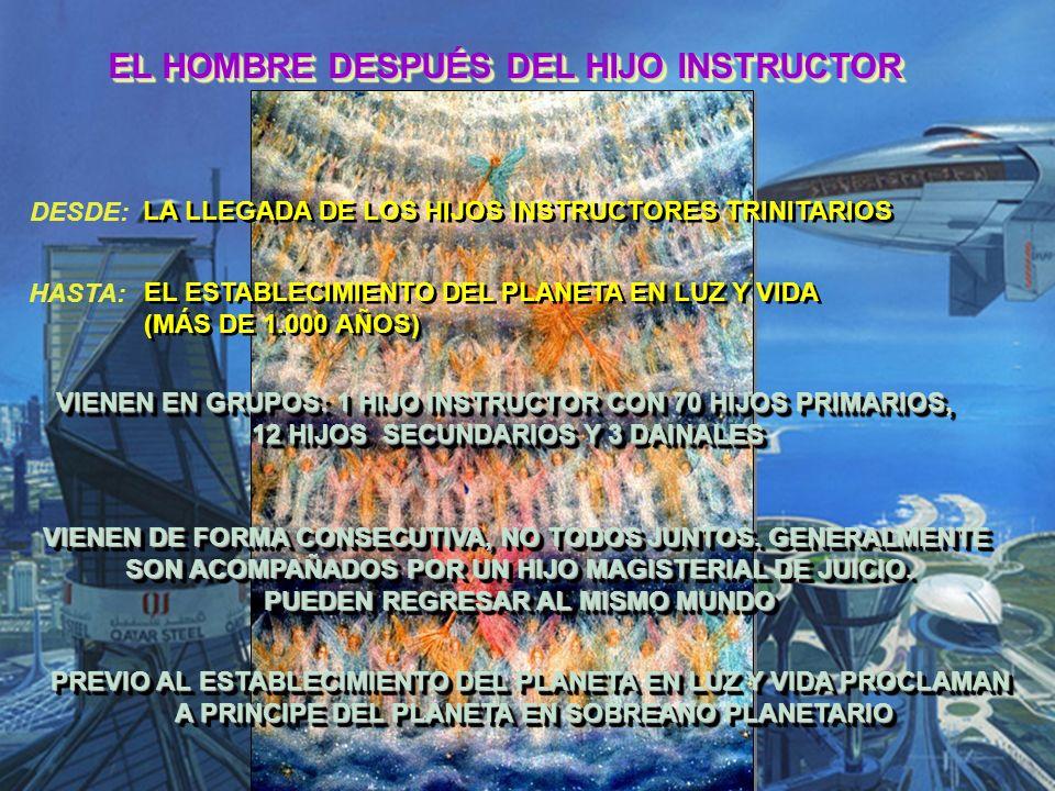 EL HOMBRE DESPUÉS DEL HIJO INSTRUCTOR DESDE: HASTA: LA LLEGADA DE LOS HIJOS INSTRUCTORES TRINITARIOS EL ESTABLECIMIENTO DEL PLANETA EN LUZ Y VIDA (MÁS