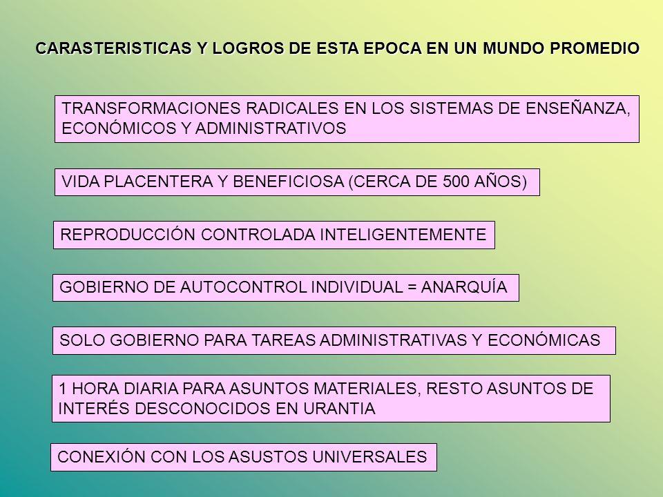 CARASTERISTICAS Y LOGROS DE ESTA EPOCA EN UN MUNDO PROMEDIO TRANSFORMACIONES RADICALES EN LOS SISTEMAS DE ENSEÑANZA, ECONÓMICOS Y ADMINISTRATIVOS VIDA
