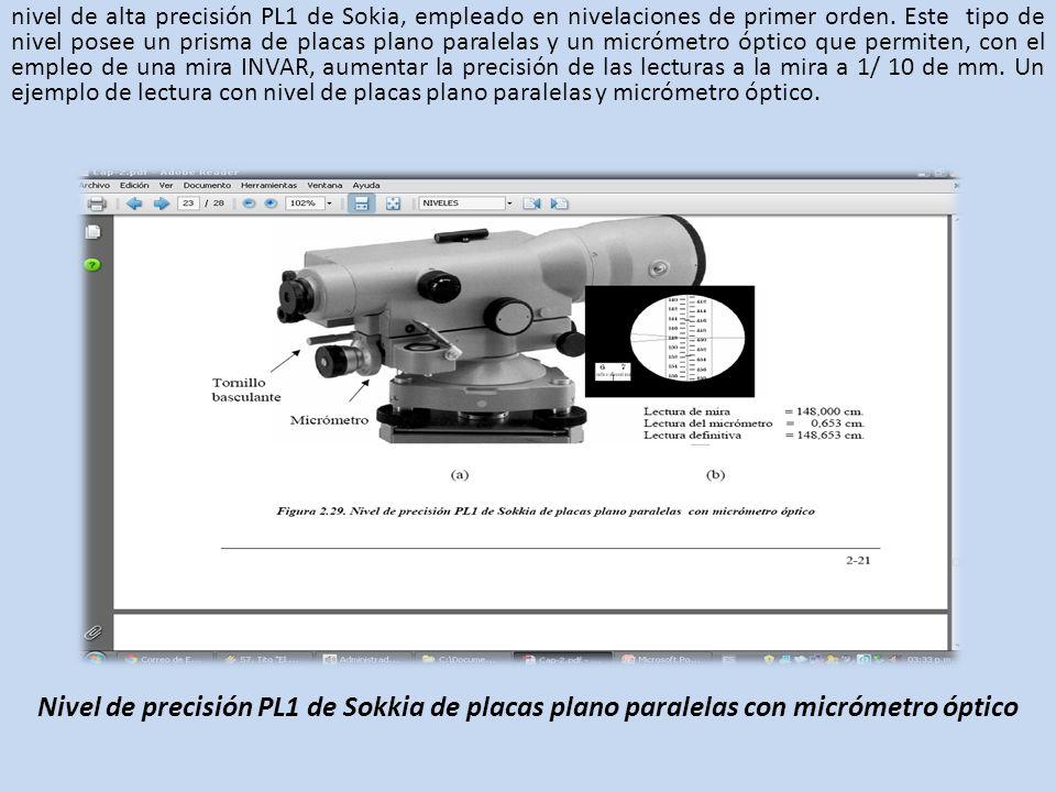 nivel de alta precisión PL1 de Sokia, empleado en nivelaciones de primer orden. Este tipo de nivel posee un prisma de placas plano paralelas y un micr