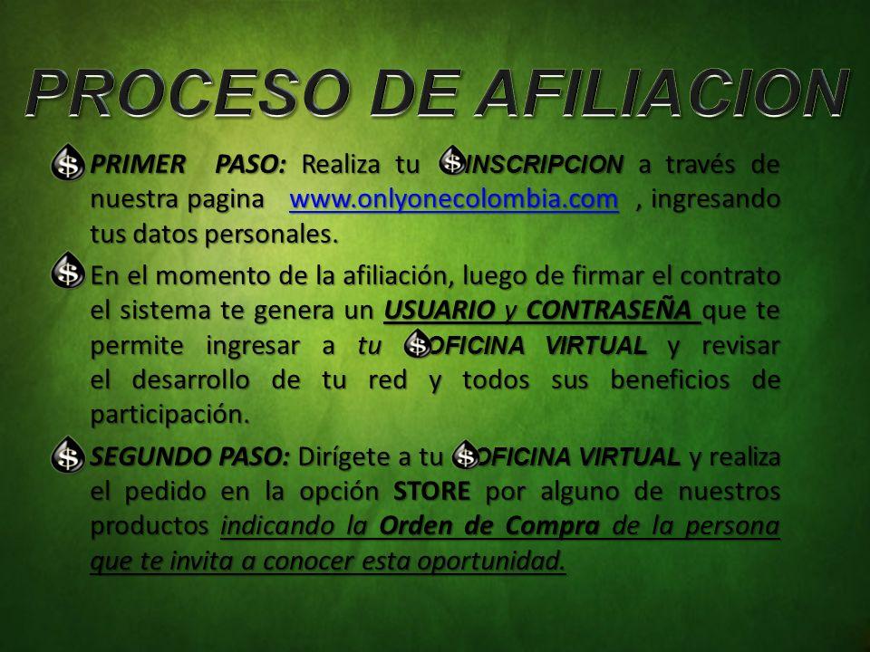 PRIMER PASO: Realiza tu INSCRIPCION a través de nuestra pagina www.onlyonecolombia.com, ingresando tus datos personales.