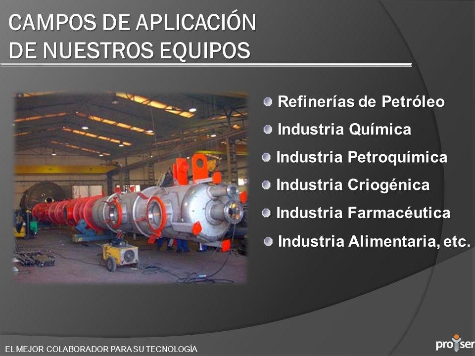 EL MEJOR COLABORADOR PARA SU TECNOLOGÍA CAMPOS DE APLICACIÓN DE NUESTROS EQUIPOS Industria Petroquímica Industria Criogénica Industria Farmacéutica In