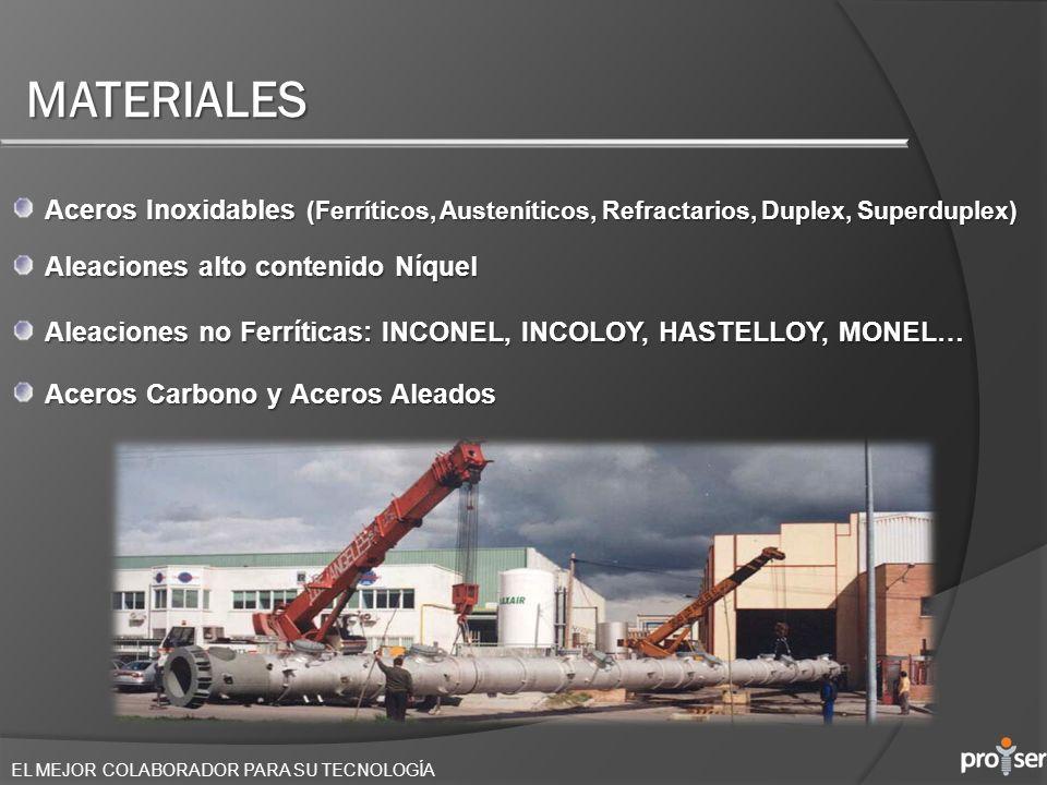 EL MEJOR COLABORADOR PARA SU TECNOLOGÍA MATERIALES Aceros Inoxidables (Ferríticos, Austeníticos, Refractarios, Duplex, Superduplex) Aleaciones alto co