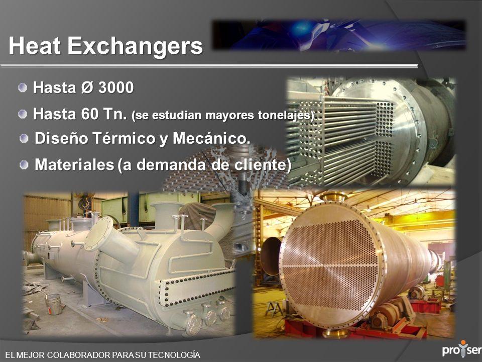 EL MEJOR COLABORADOR PARA SU TECNOLOGÍA Heat Exchangers Hasta Ø 3000 Materiales (a demanda de cliente) Hasta 60 Tn. (se estudian mayores tonelajes) Di