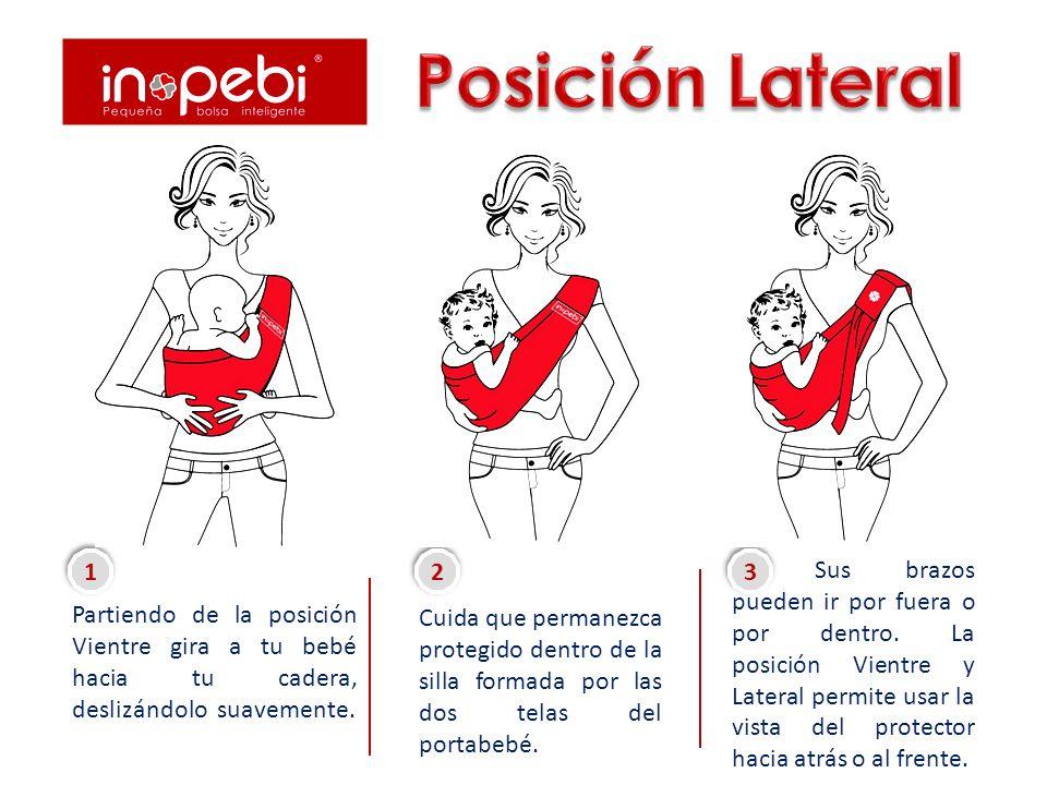 Carga a tu bebé de frente a ti, deslízalo suavemente a través del portabebé hasta sacar sus pies.
