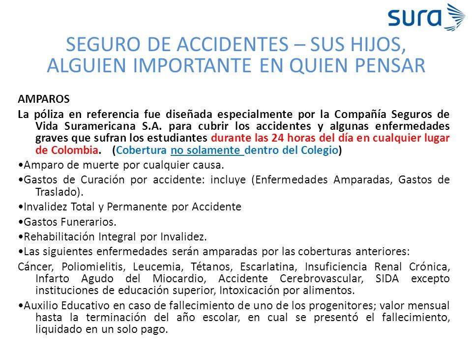SEGURO DE ACCIDENTES – SUS HIJOS, ALGUIEN IMPORTANTE EN QUIEN PENSAR AMPAROS La póliza en referencia fue diseñada especialmente por la Compañía Seguro