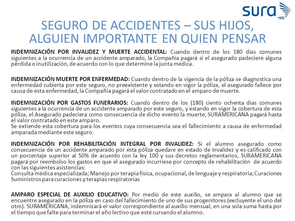 SEGURO DE ACCIDENTES – SUS HIJOS, ALGUIEN IMPORTANTE EN QUIEN PENSAR INDEMNIZACIÓN POR INVALIDEZ Y MUERTE ACCIDENTAL: Cuando dentro de los 180 días co