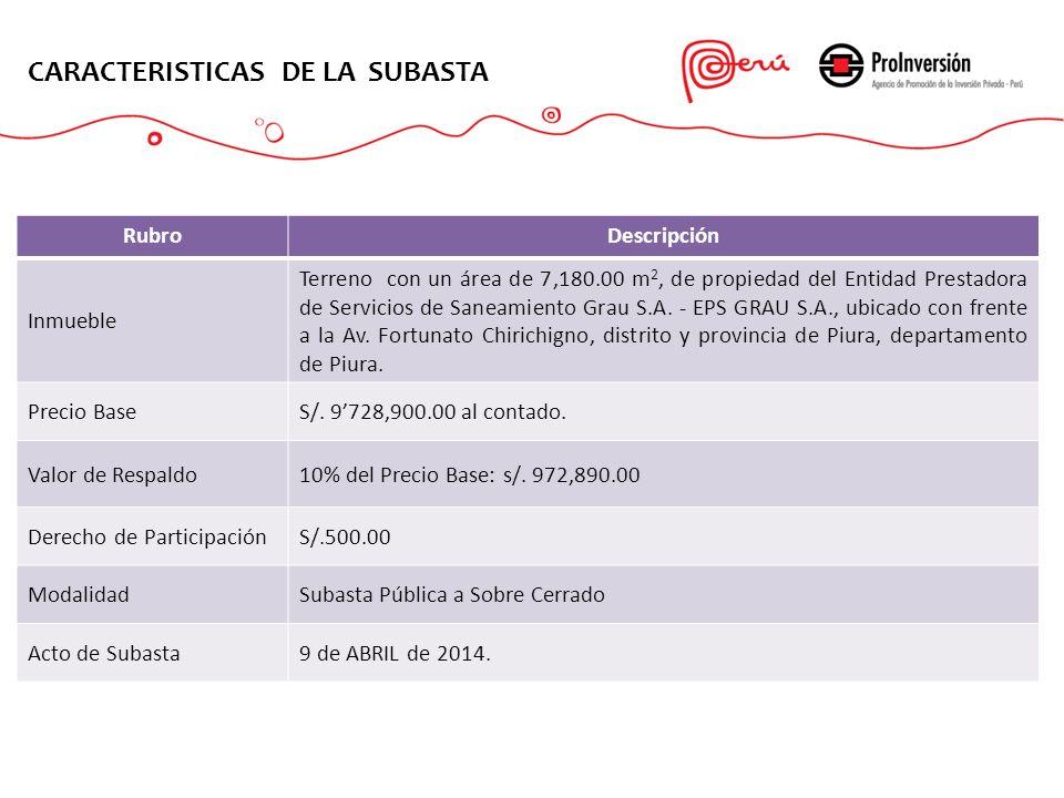 CARACTERISTICAS DE LA SUBASTA RubroDescripción Inmueble Terreno con un área de 7,180.00 m 2, de propiedad del Entidad Prestadora de Servicios de Sanea